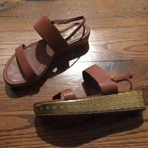 EUC Kate Spade platform sandals camel gold 7.5